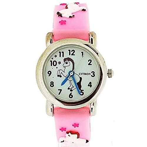 Citron Girls tanzende Pony Uhr, rosa Armband KID86