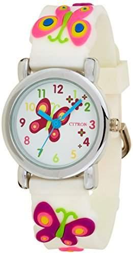 Citron GirlQuarz-Uhr mit weissem Zifferblatt Analog-Anzeige und weisse KID87 Kunststoff