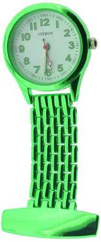 Citron Unisex Quartz-Uhr mit weissem Zifferblatt Analog-Anzeige und gruenem Tragegurt NW13A
