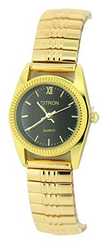 Damen transparent schwarz Face einfach Lesen vergoldet Gold Expander Armband Armbanduhr
