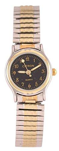 Damen transparent schwarz Face einfach Lesen Zwei Ton Silber Vergoldet Gold Expander Armband Armbanduhr