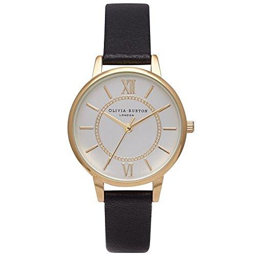 Olivia Burton Damen Armbanduhr 30mm Armband Leder Schwarz Gehaeuse Edelstahl Quarz Analog OB14WD04