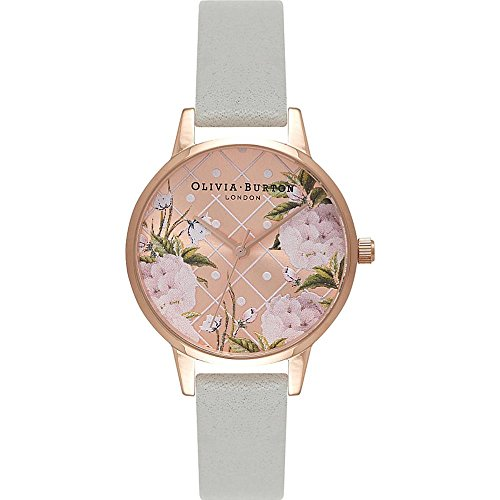 Olivia Burton Damen Armbanduhr 30mm Armband Leder Grau Gehaeuse Edelstahl Quarz Analog OB15EG44
