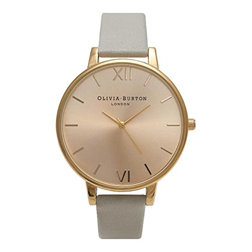 Olivia Burton Damen Armbanduhr 38mm Armband Leder Grau Gehaeuse Edelstahl Quarz Zifferblatt Gold OB14BD33
