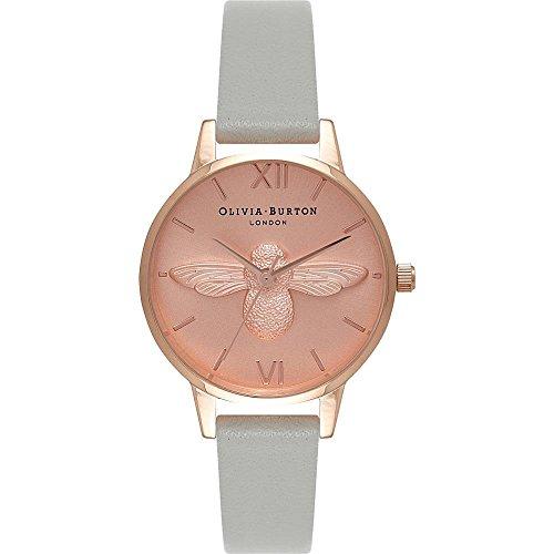 Olivia Burton Damen Armbanduhr 30mm Armband Leder Grau Gehaeuse Edelstahl Quarz Zifferblatt Gold OB15AM74