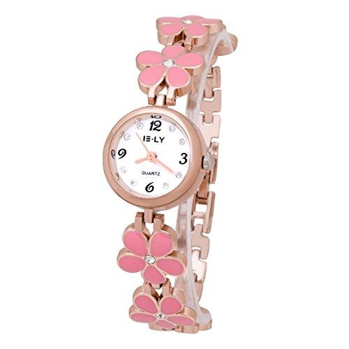 Damen rosa Blumen Armband Uhr Edelstahlarmband Armbanduhr Analog Wrist Watch