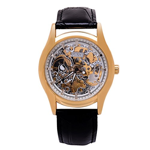 BuyingJewelry Herren Analoge PU Leder Armband Selbstaufzug mechnische Armbanduhr Skeleton