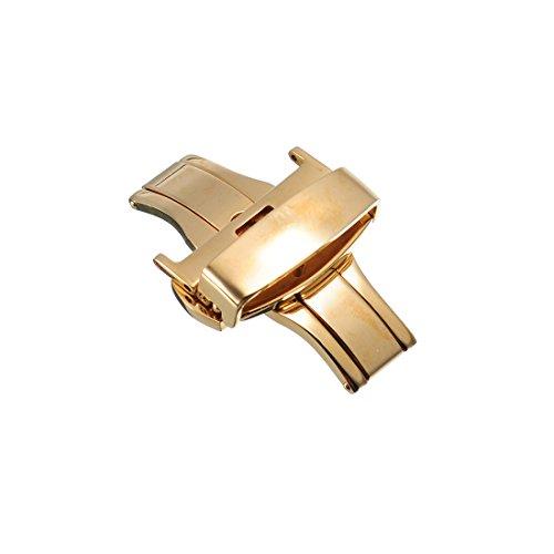 22mm Edelstahl Sicherheitsfaltschliesse Faltschliesse poliert fuer Uhrenarmband Uhrenverschluss Goldene