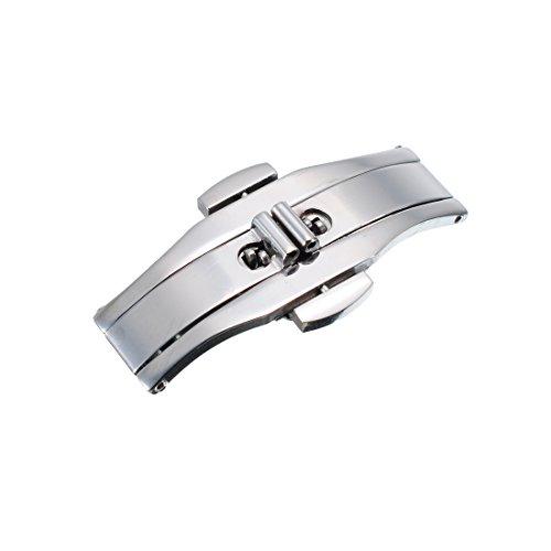 23mm Edelstahl Sicherheitsfaltschliesse Faltschliesse poliert fuer Uhrenarmband Uhrenverschluss Stahlfarb