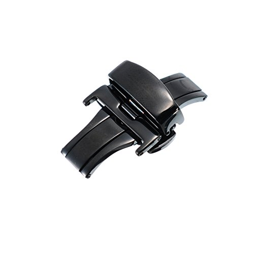 20mm Edelstahl Sicherheitsfaltschliesse Faltschliesse poliert fuer Uhrenarmband Uhrenverschluss Schwarze