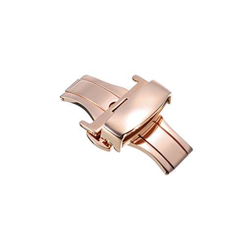 22mm Edelstahl Sicherheitsfaltschliesse Faltschliesse poliert fuer Uhrenarmband Uhrenverschluss Rosegoldene