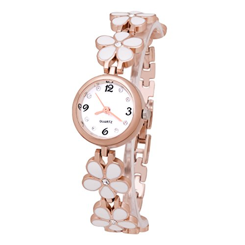 Damen vielgefragte Blumen Armband Uhr Edelstahlarmband Armbanduhr Analog Wrist Watch