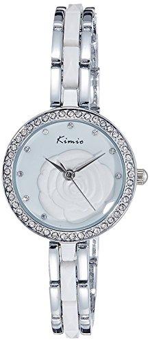 KIMIO Strass Camellia Armband Armbanduhr Best Geburtstag Geschenk fuer Frauen weiss