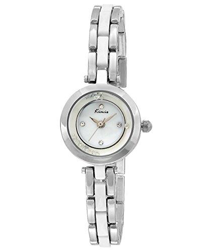 KIMIO Strass Pearl Shell Armband Armbanduhr Best Geburtstag Geschenk fuer Frauen weiss