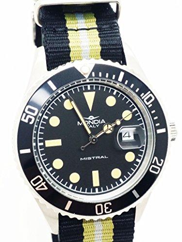 MONDIA Mistral Zifferblatt schwarz und Armband technischer Senf und schwarz