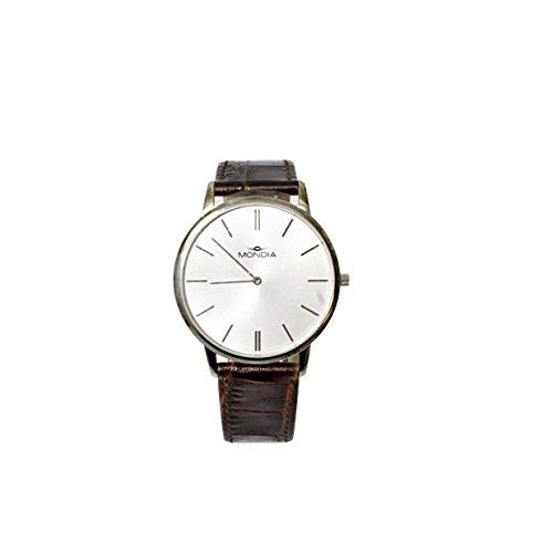 MONDIA Uhr aus Edelstahl mit Lederband und Zifferblatt Analog