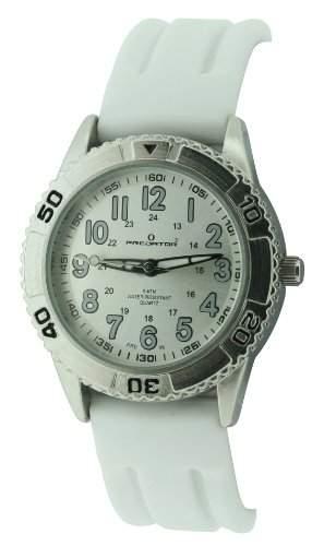 Predator PRE98B Damen-Armbanduhr, Quarzwerk mit Analoganzeige, Armband aus Silikon, Weiß