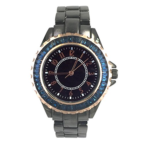 City naf sa Damen Business Fashion Metallic Schwarz Farbe Edelstahl Gurt Armbanduhr na 0021