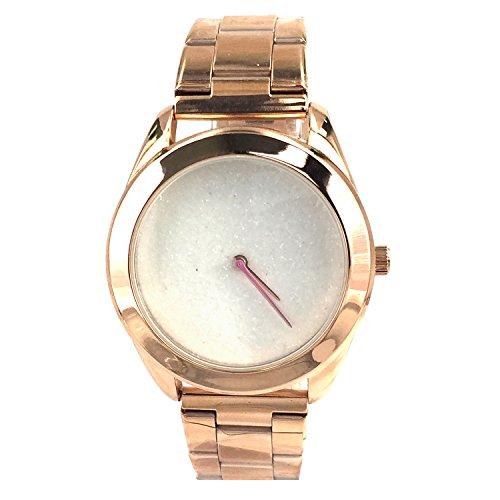 City naf sa Damen Funkelnder weisser Zifferblatt Rose Gold Farbe Edelstahl Gurt Armbanduhr na 0020