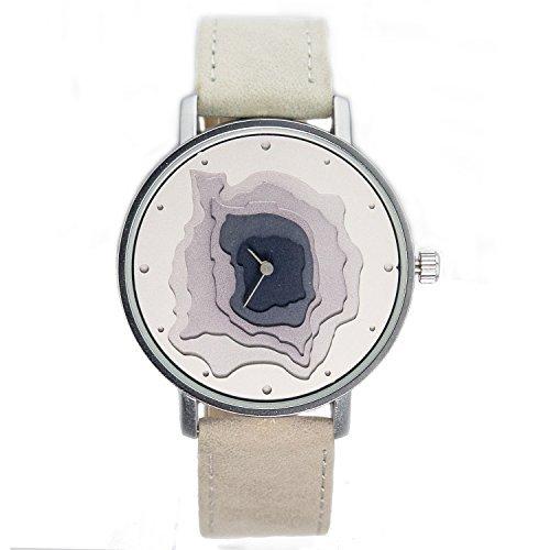 naf sa Damen Layered Zifferblatt Grau Farbe Wildleder Lederband Armbanduhr na 0003