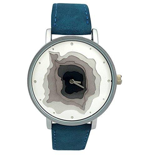 naf sa Damen Layered Karte Zifferblatt blau Farbe Wildleder Lederband Armbanduhr na 0027