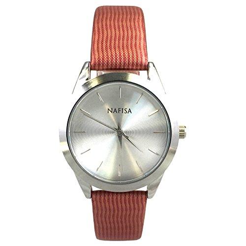 Nafisa Damen Space Silber Fall Fashion bedruckter Stoff Gurt Armbanduhr NA 0040
