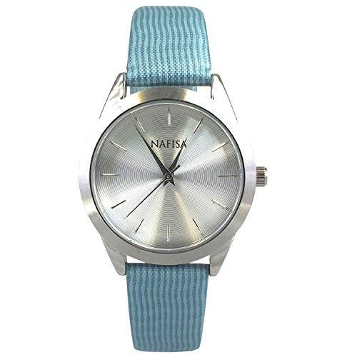 Nafisa Damen Space Silber Fall Fashion bedruckter Stoff Gurt Armbanduhr NA 0041