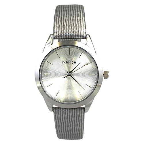 Nafisa Damen Fashion Zifferblatt Space Silber Quarz Bedruckter Stoff Armband Armbanduhr NA 0039