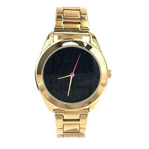 City naf sa Damen Sparkling Schwarz Zifferblatt Gold Farbe Edelstahl Gurt Armbanduhr na 0019
