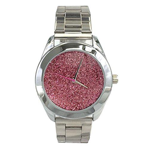 City naf sa Damen Sparkling Pink Zifferblatt Silber Farbe Edelstahl Gurt Armbanduhr na 0017