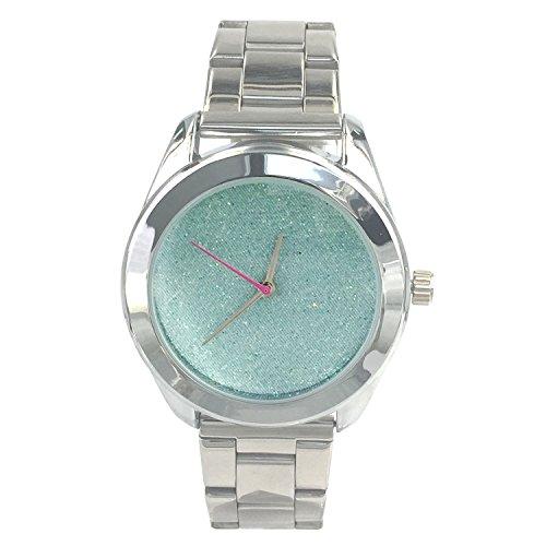 City naf sa Damen Sparkling Baby Blue Zifferblatt Silber Farbe Edelstahl Gurt Armbanduhr na 0018