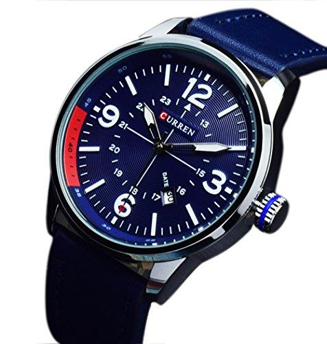erinnert an Fashion Sports Armbanduhr Elegant Quarz analoge Uhr Herren Blau Lederband Uhren