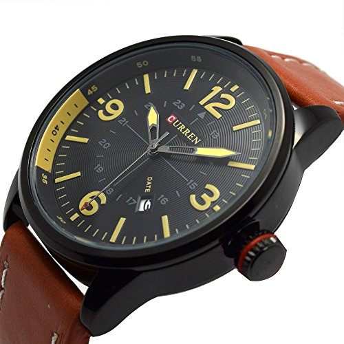 erinnert an Fashion Sports Armbanduhr Elegant Quarz analoge Uhr Herren Orange Lederband Uhren