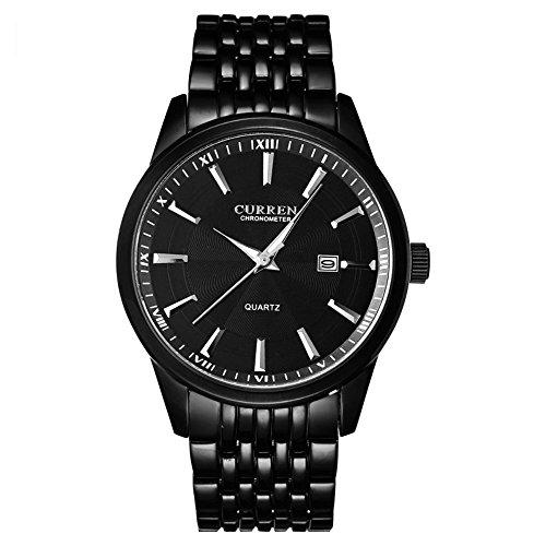 erinnert an Big schwarz Zifferblatt Auto Datum Silber Edelstahl Gurt Armbanduhr Analog