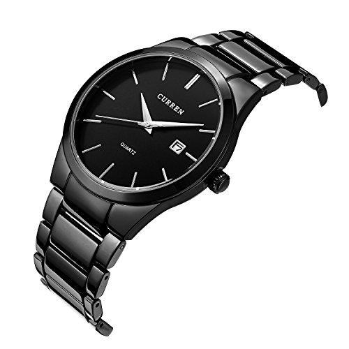 erinnert an Big Zifferblatt Auto Datum Schwarz Edelstahl Armbanduhr Wasserdicht