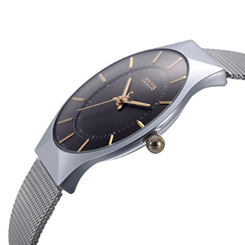 erinnert an Ultra Duenn Zifferblatt Luxus Analog Display Quarz Mesh Band Armbanduhr Schwarz