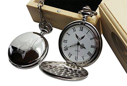 Pentagramm Silber Taschenuhr Luxus Geschenk in Case Holz Box Hexerei Tarot Gothic geheimnisvollen Magic