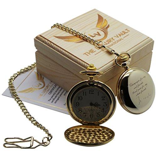 Goldene Taschenuhr mit Autogramm von Tom Waits beschichtet mit 24 Karat Gold mit Savonette und Kette inkl Geschenkbox