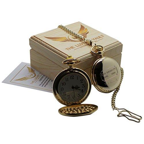 SYD BARRETT PINK FLOYD unterzeichnet Gold Taschenuhr 24 Karat Gold beschichtet Full Hunter mit Kette Luxus Geschenk Fall