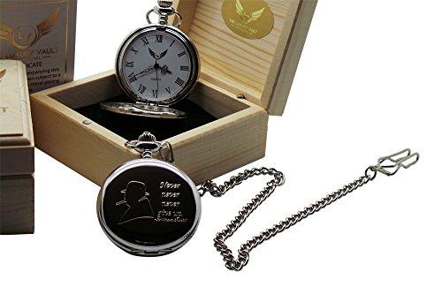 Sir Winston Churchill Silberne Taschenuhr mit dem Zitat Never Give Up Luxus Geschenk in Holz Box