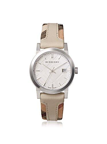 Authentische Burberry Luxus Armbanduhr seltene Unisex Soff Lederband Silbernes Zifferblatt Datumsanzeige bu9132