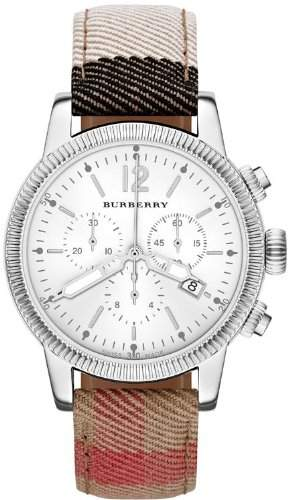 BURBERRY DAMEN 42MM CHRONOGRAPH MULTI COLOR STOFF ARMBAND SAPHIRGLAS UHR BU7820