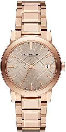 Burberry Check Geprägte Damenarmbanduhr BU9034 Rotgold