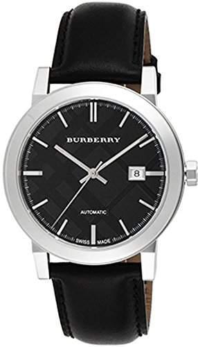 Burberry Herren 42mm Schwarz Leder Armband Edelstahl Gehaeuse Datum Uhr BU9302