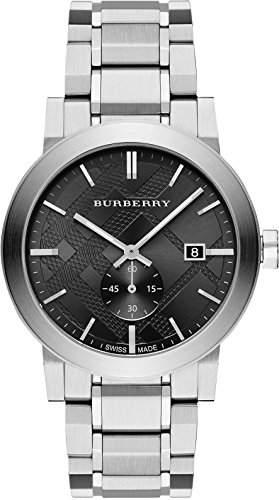 BURBERRY HERREN 42MM SILBER EDELSTAHL ARMBAND & GEHAEUSE SAPHIRGLAS UHR BU9901