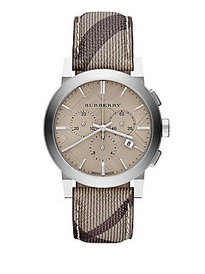 Burberry BU9361 Watch City Mens Champagne Dial Stainless Steel Case Quartz Movement Stainless Steel Smoke