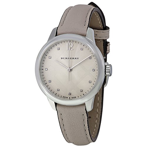 Burberry Swiss Diamond Accent Weiss Lederband 32 mm bu10105