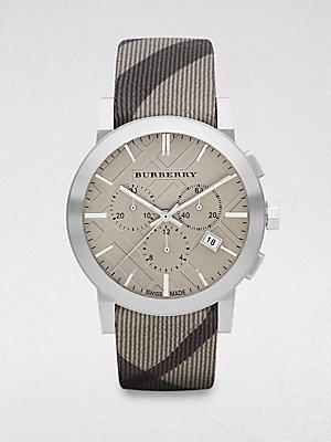 Burberry Uhr Herren Schweizer Chronograph Smoke Check Stoff Gurt 42 mm BU9358