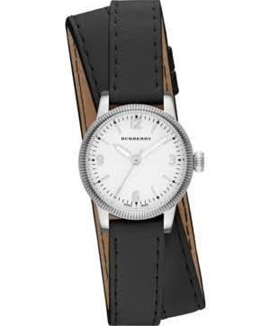 Burberry Utilitarian weiss Zifferblatt schwarz Leder Damen Armbanduhr bu7845