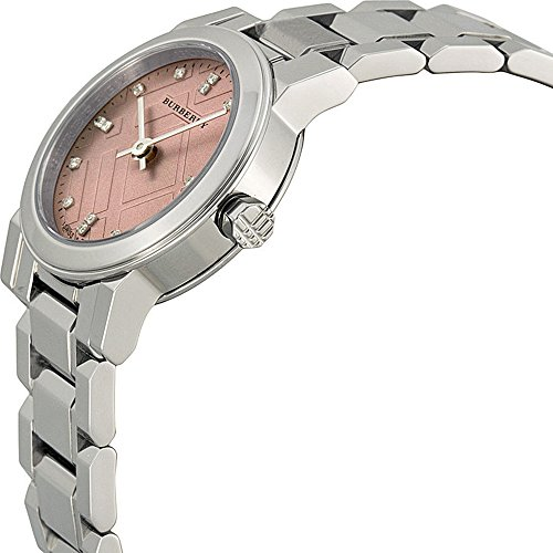 Foerderung Echtes Burberry Luxus Diamanten Uhr Frauen The City Wunderschoene Edelstahl Silber Zifferblatt pink rautenfoermiger bu9223